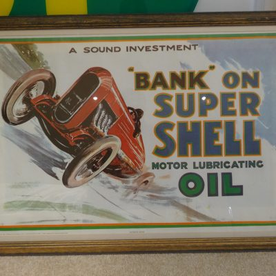 1960s Bank on Super Shell Motor Lubricating Oil Poster