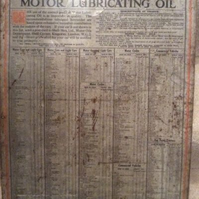 Shell 1925 table of correct grades of motor lubricating oil