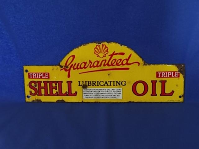 1920's Shell Enamel Triple Guaranteed Sign