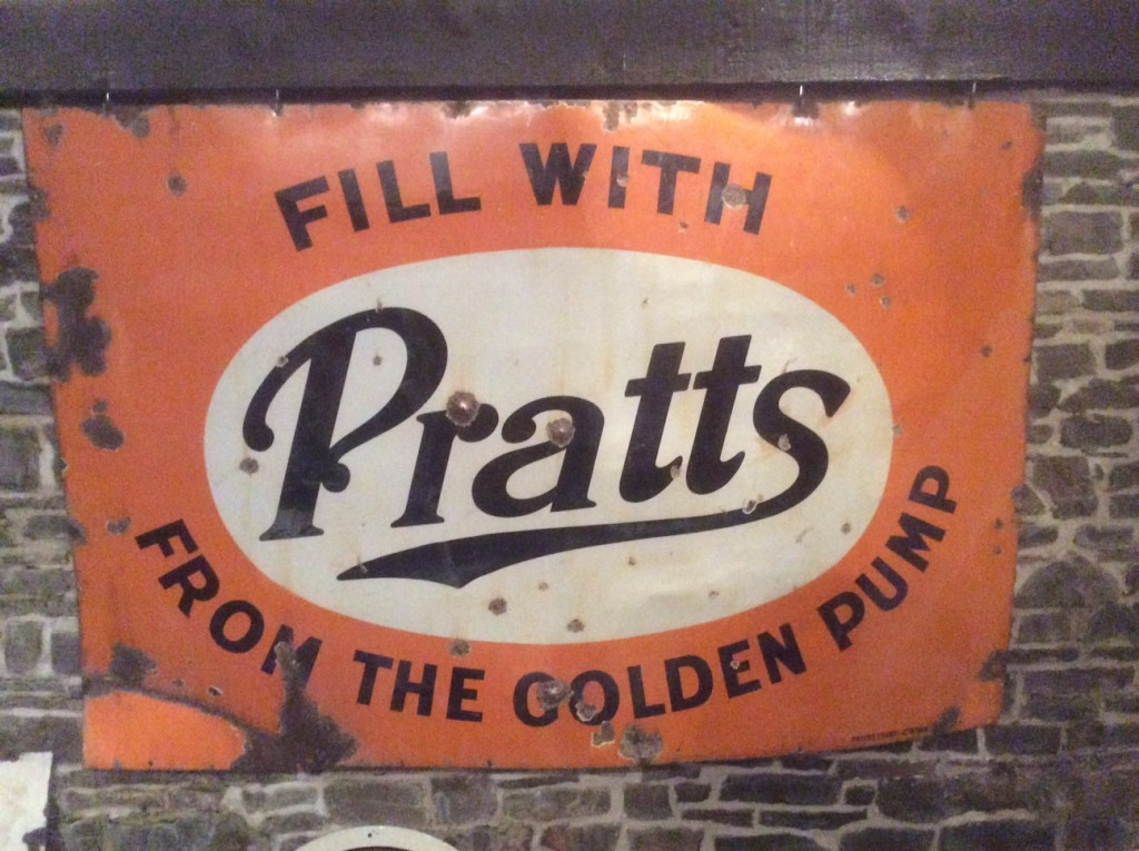 Pratts Fill From The Golden Pump Enamel Sign