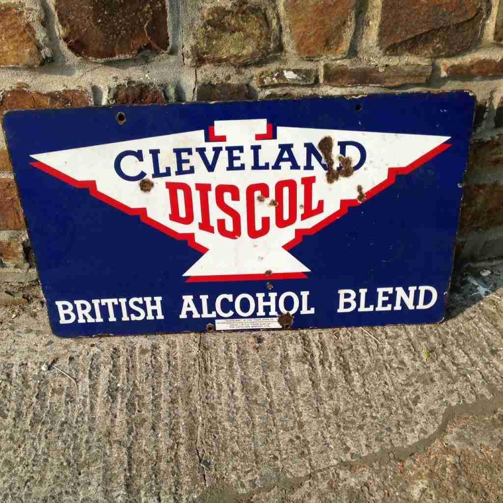 Cleveland Discol British Alcohol Blend Enamel Sign