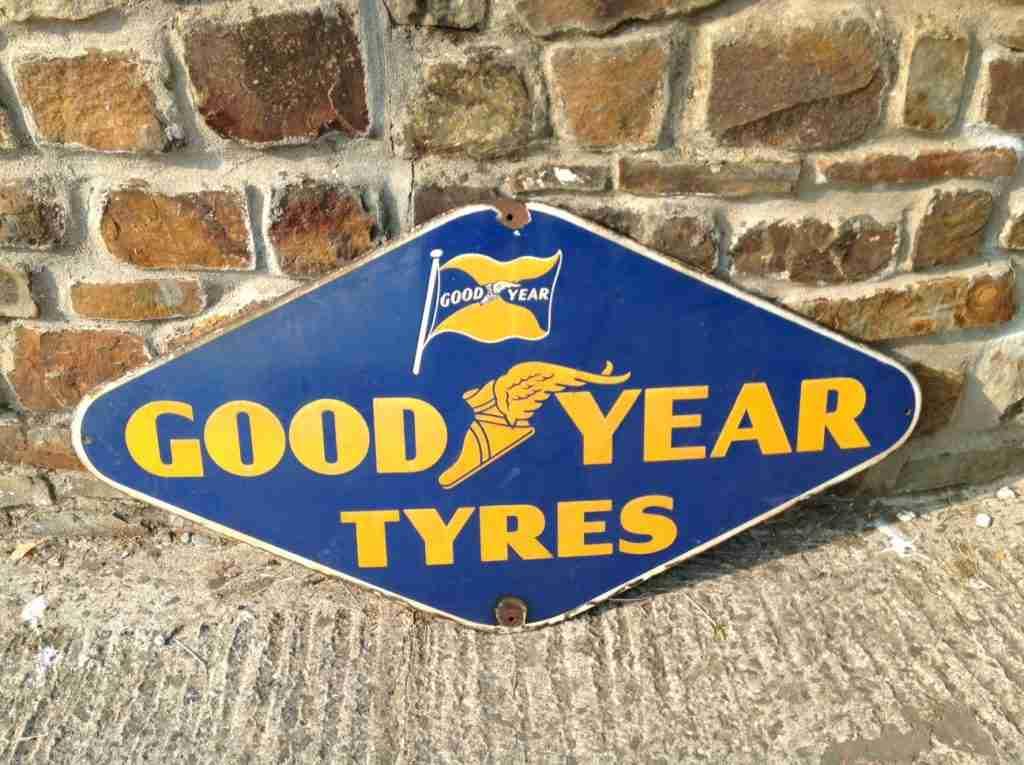 Goodyear Tyres Rhombus Shaped Enamel Sign