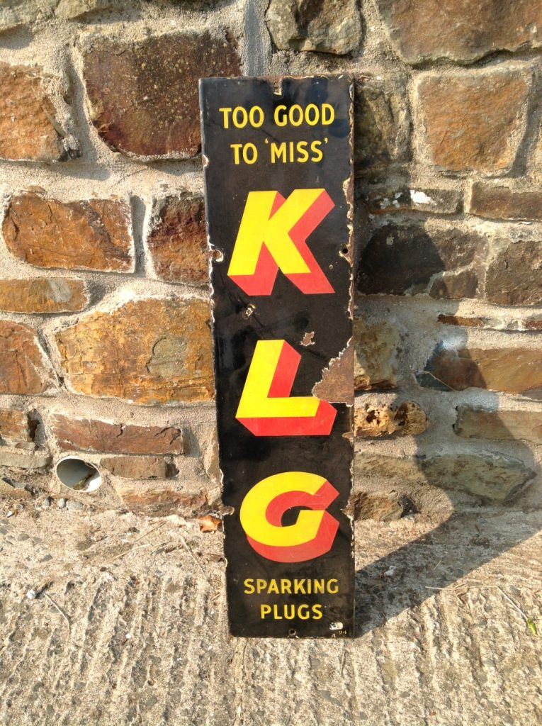 """Too Good To Miss"" KLG Enamel Sign"