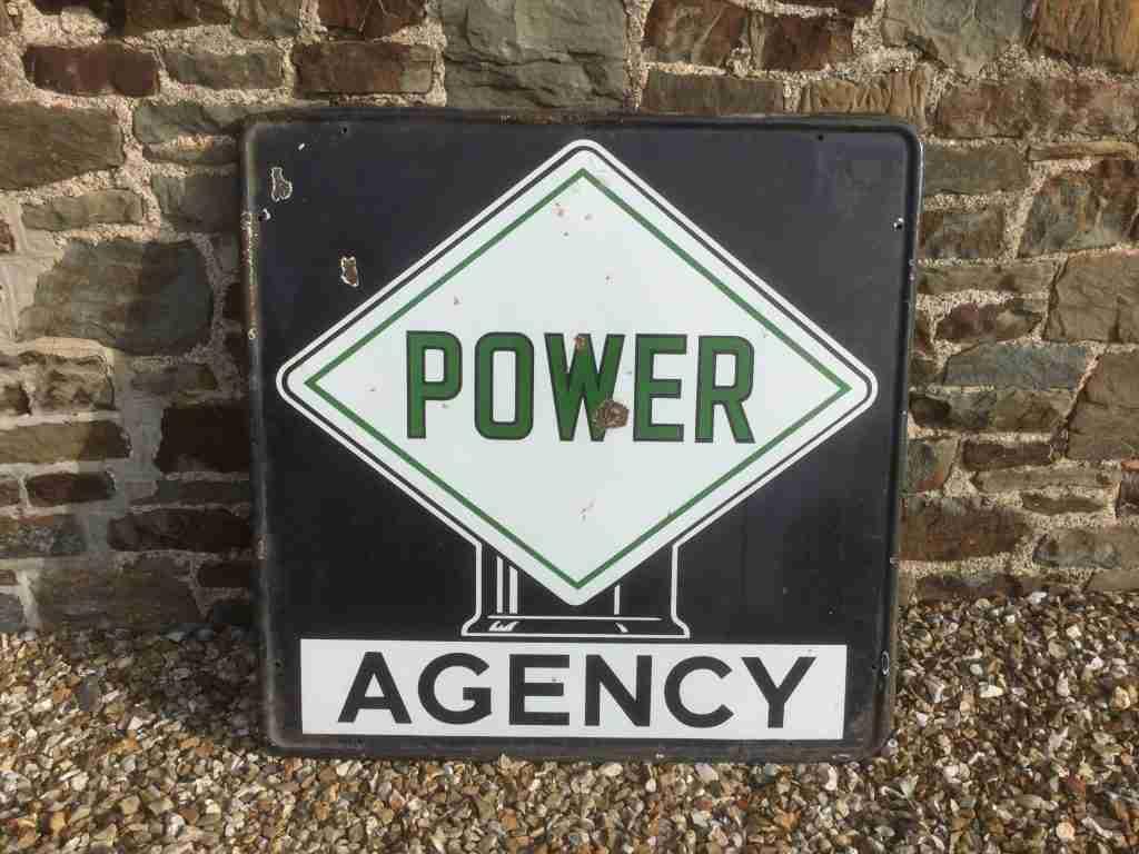 Power Agency Enamel Sign