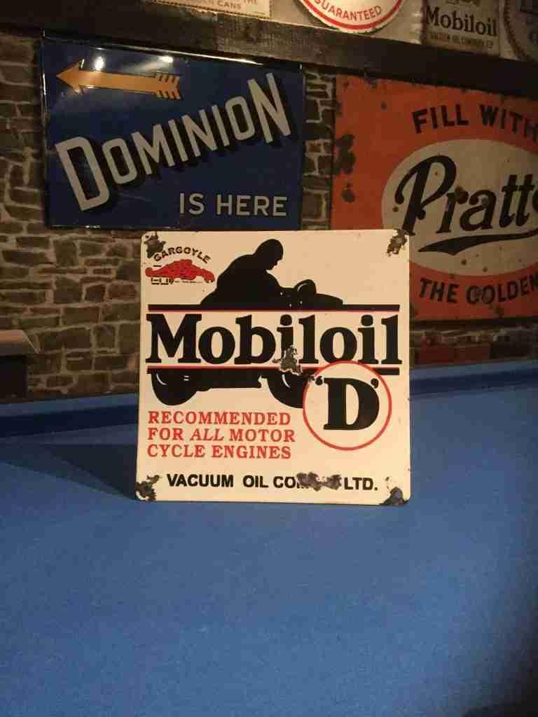 Mobiloil D Enamel Sign