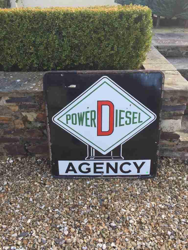 Power Diesel Agency Enamel Sign