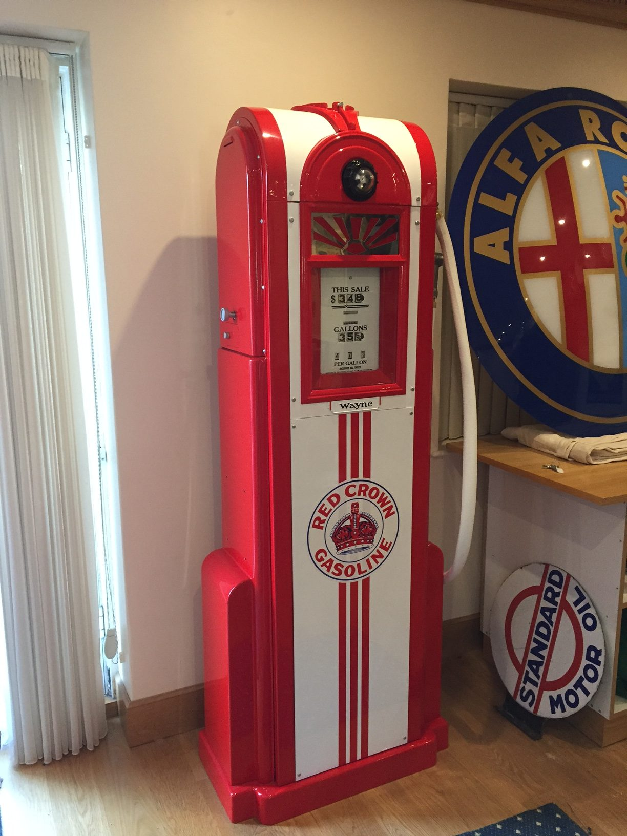 Wayne 60 Petrol Pump in Red Crown Gasoline Livery