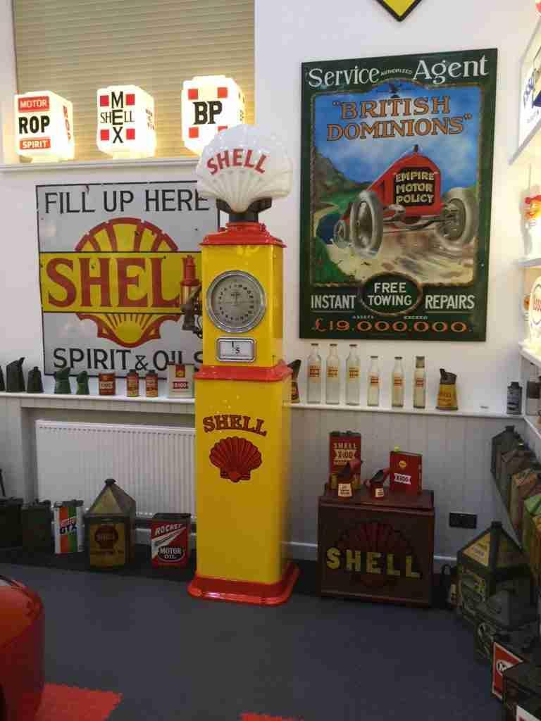 UK Restoration's Restored Bennett Petrol Pump in Shell Livery