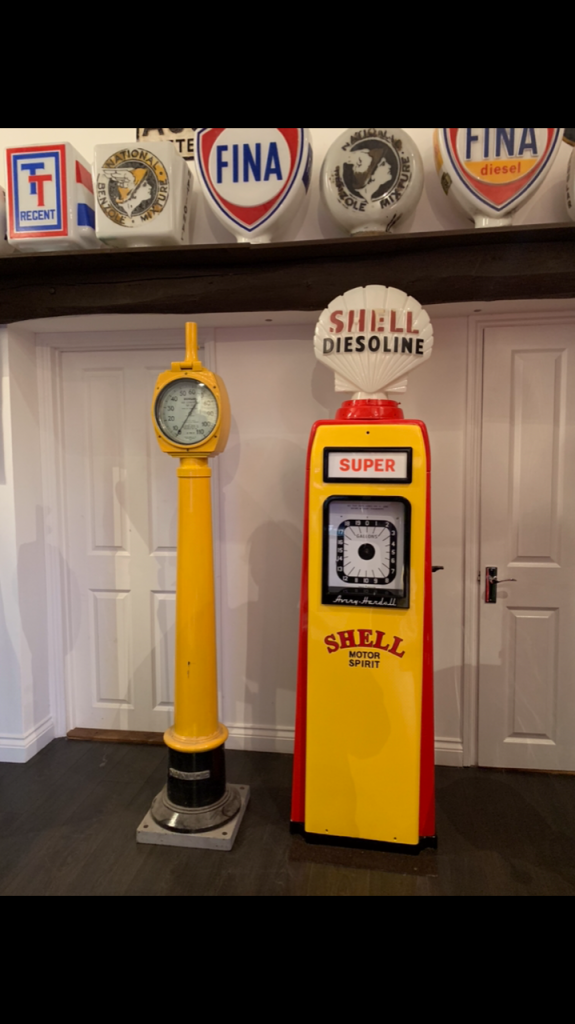 Avery Hardoll 101 Petrol Pump in Shell Livery and Vintage Unrestored Dunlop Air Tower