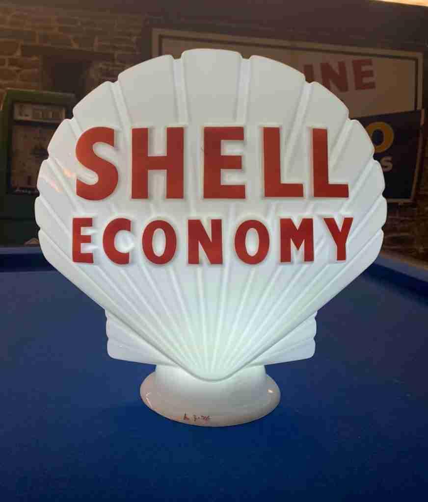 UK Restorations Shell Economy Petrol Pump Globe