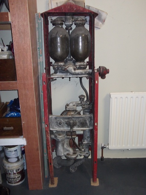 UK Restoration's Unrestored Shell Mark IV Wall Hanging Petrol Pump